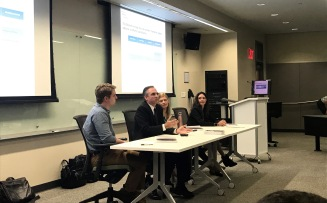 A panel including professor Angeline Close, Allye Doorey from The Richards Group, doctoral student Jonathan Henson and Scott Stroud, director of the Media Ethics Initiative, discussed di