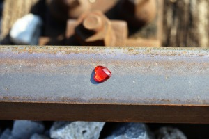 Red Heart On Railway Stop Teenager Suicide